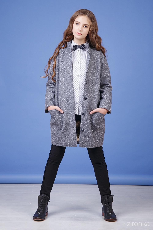 Пальто серое для девочки 50-9001-2