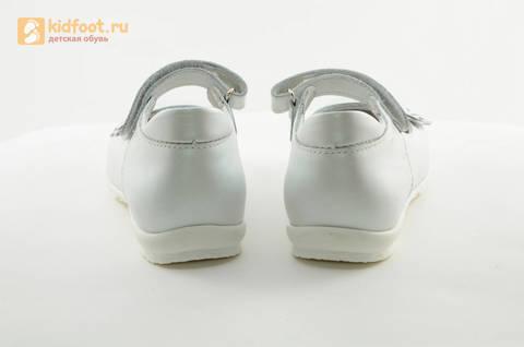 Туфли Тотто из натуральной кожи на липучке для девочек, цвет Белый, 10204A. Изображение 8 из 16.