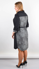 Сандал. Весеннее платье-рубашка больших размеров. Леопард серый.