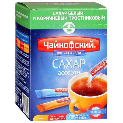 Сахар порционный Чайкофский ассорти белый/тростниковый в стиках по 5 г (60 штук в упаковке)