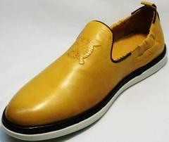 Модные мужские туфли под джинсы King West 053-1022 Yellow-White.