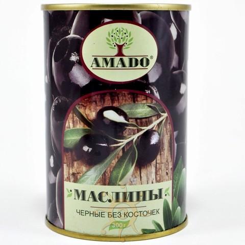 Маслины черные без косточки в ж/б Amado, 300г