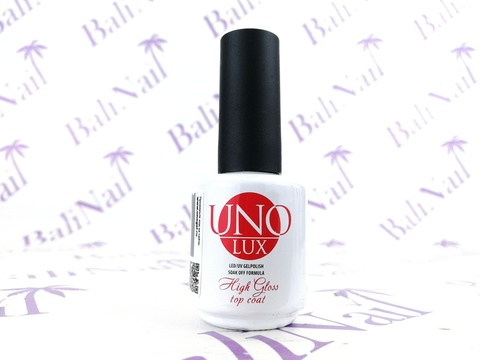 UNO, Верхнее покрытие Uno Lux High Gloss Top Coat, 15мл