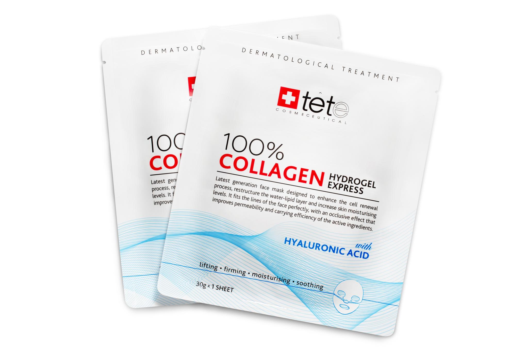 Гидроколлагеновая маска 100% моментального действия, 1 саше / TETe 100% Collagen Hydrogel Mask