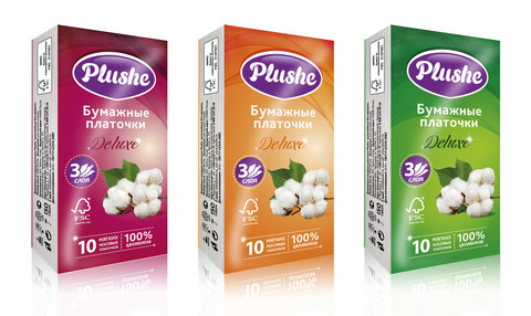 "Платочки бумажные ""Plushe"" Deluxe 3сл"