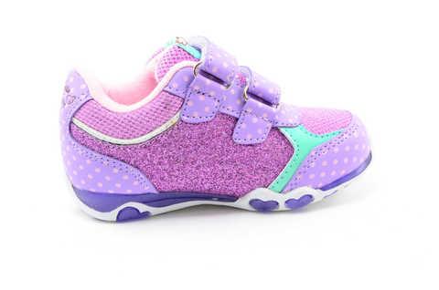 Светящиеся кроссовки для девочек Хелло Китти (Hello Kitty) на липучках, цвет сиреневый, мигает картинка сбоку. Изображение 4 из 12.