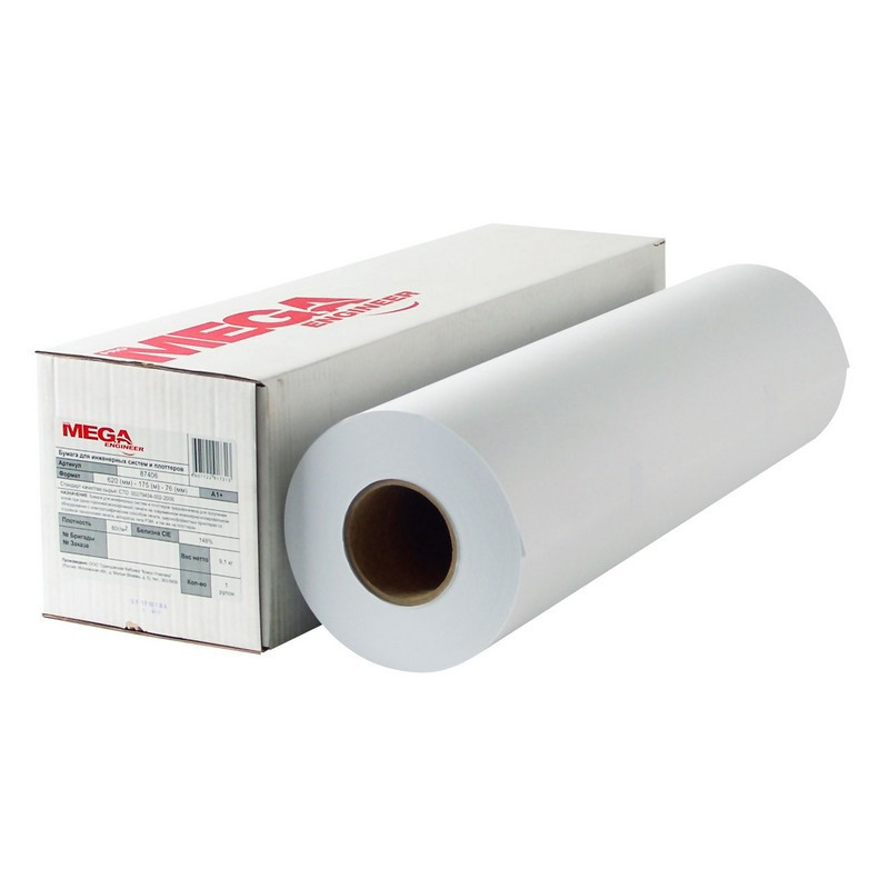 Бумага широкоформатная ProMEGA engineer Bright white 80г 620ммх150м 76мм