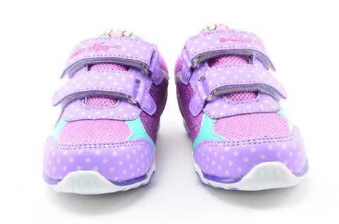 Светящиеся кроссовки для девочек Хелло Китти (Hello Kitty) на липучках, цвет сиреневый, мигает картинка сбоку. Изображение 5 из 12.