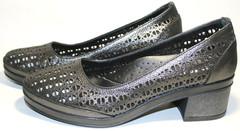 Кожаные летние туфли на толстом каблуке Marani Magli