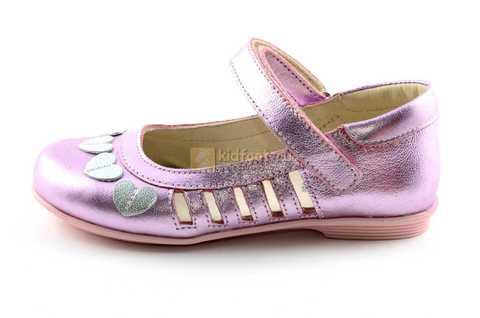 Туфли для девочек кожаные на липучке Тотто, цвет розовый металлик, 10210A. Изображение 3 из 12.