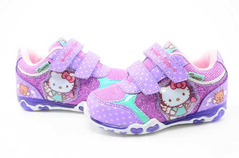 Светящиеся кроссовки для девочек Хелло Китти (Hello Kitty) на липучках, цвет сиреневый, мигает картинка сбоку. Изображение 9 из 12.