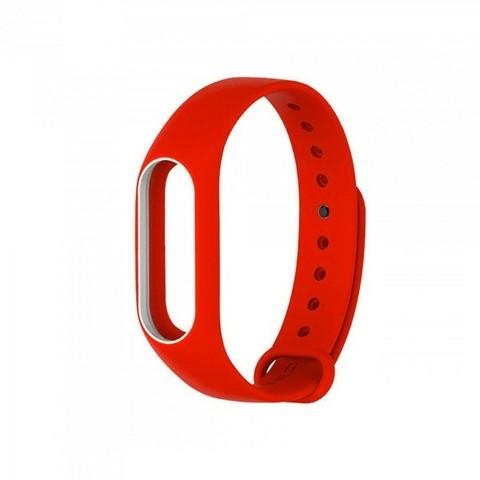 Силиконовый ремешок для Xiaomi Mi Band 2 (красный с белым)