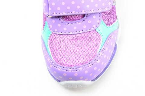 Светящиеся кроссовки для девочек Хелло Китти (Hello Kitty) на липучках, цвет сиреневый, мигает картинка сбоку. Изображение 10 из 12.