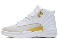 Кроссовки Мужские Air Jordan 12 Retro Jumpmen  White Gold
