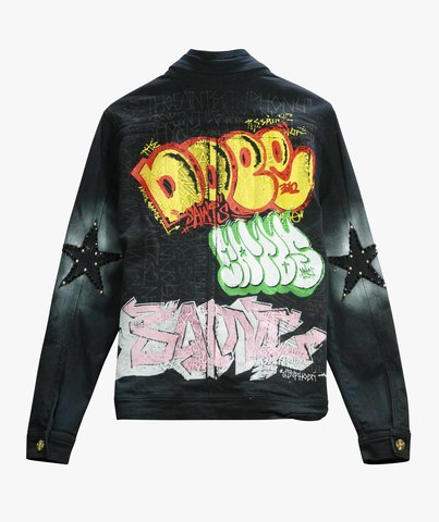 Куртка джинсовая The Saints Sinphony GRAFFITI JACKET BLACK
