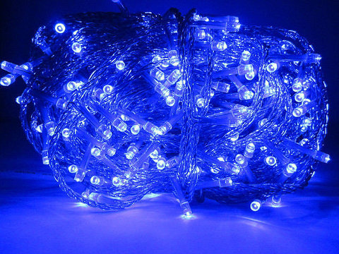 LED гирлянда нить на силиконовом прозрачном проводе синяя 30 метров 300 led