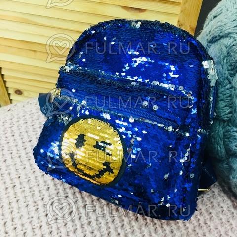 Рюкзак с двусторонними пайетками нашивкой Смайлик меняет цвет Синий-Серебристый