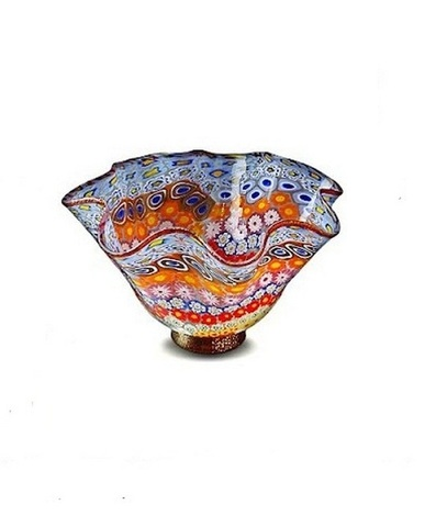 Ваза из муранского стекла мультиколор  на красной основе (по предзаказу)