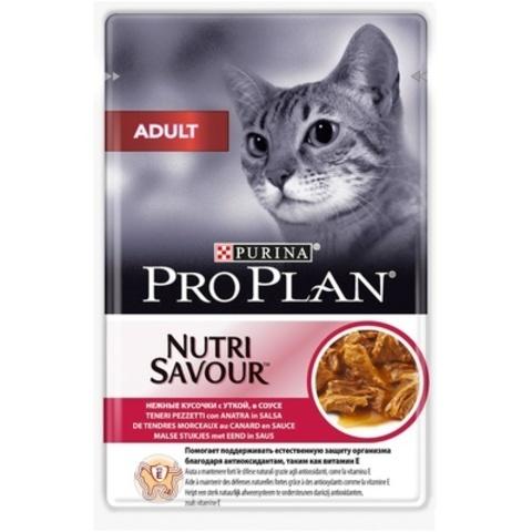 Pro Plan пауч для взрослых кошек кусочки в соусе с уткой 85г