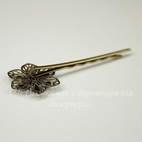 Основа для заколки - невидимки с филигранным цветком 20 мм, 60 мм (цвет - античная бронза)