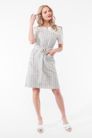 Фото белое летнее платье с оригинальной отделкой с коротким рукавом - Платье З441-131 (1)