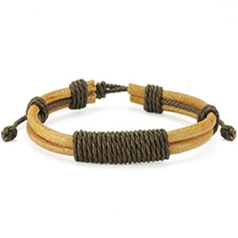 Стильный мужской браслет из натуральной кожи SPIKES SL0007-BRN+