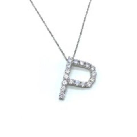 Подвеска из серебра с ослепительными цирконами буква P