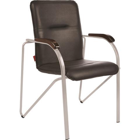 Конференц-кресло Samba silver черный (искусственная кожа/орех/металл серебристый)