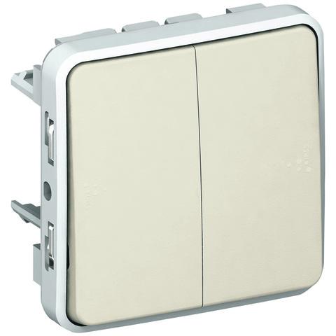 Выключатель двухклавишный проходной Двухклавишный переключатель на два направления - 10 AX - 250 В~. Цвет Белый. Legrand Plexo (Легранд Плексо). 069625