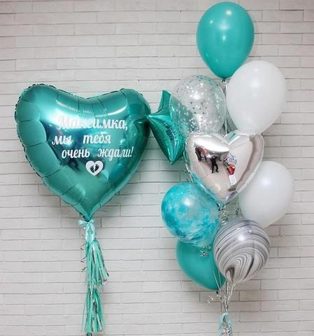 сердце гигант, мятные шары, шары на день рождения