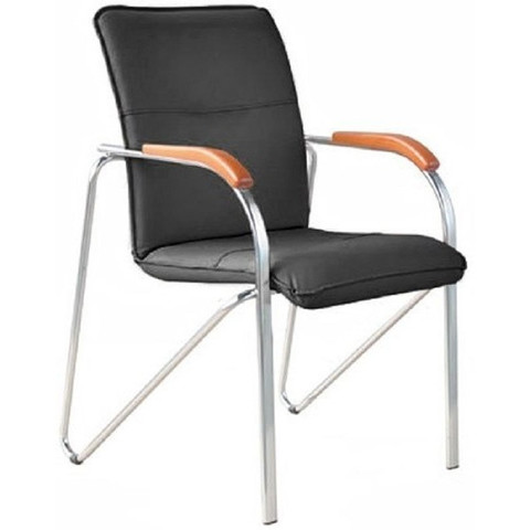 Кресло FA_Конф-ц SAMBA Silv к/з чёрный DO350/вишня