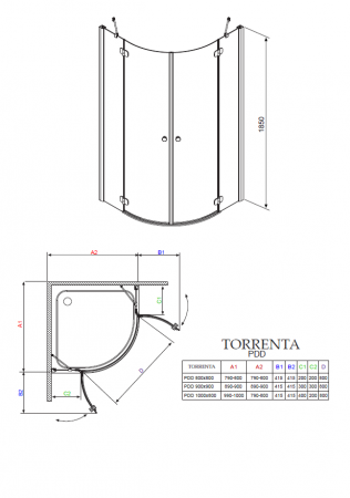 Душевой угол RADAWAY Torrenta PDD/E 100 х 80 31640-01-01