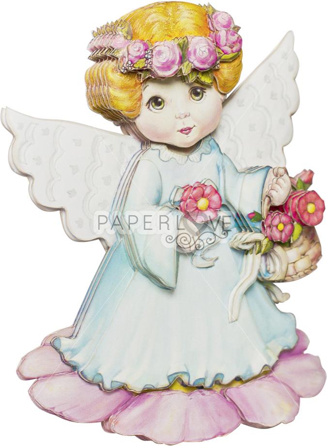 Папертоль Ангел с цветами — готовая работа, вид сбоку.