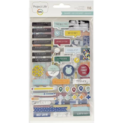 Чипборд Project Life Chipboard Stickers Sharp Edition- 116шт.