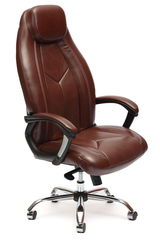 Кресло компьютерное Босс люкс (Boss lux) хром — коричневый/коричневый перфорированный (2 TONE/2 TONE /06)
