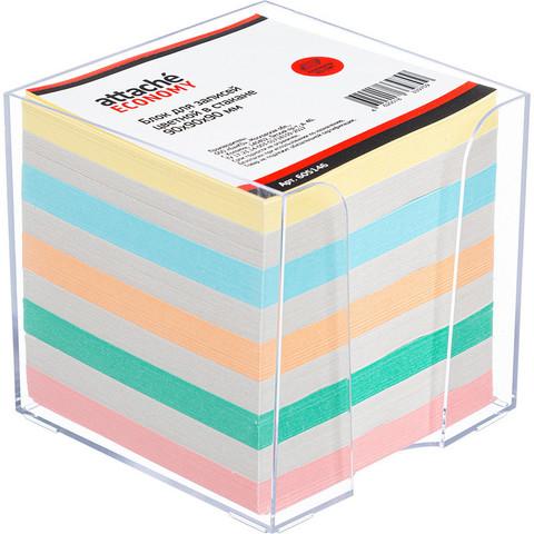 Блок для записей Attache Economy 90x90x90 мм разноцветный в боксе (плотность 65-80 г/кв.м)