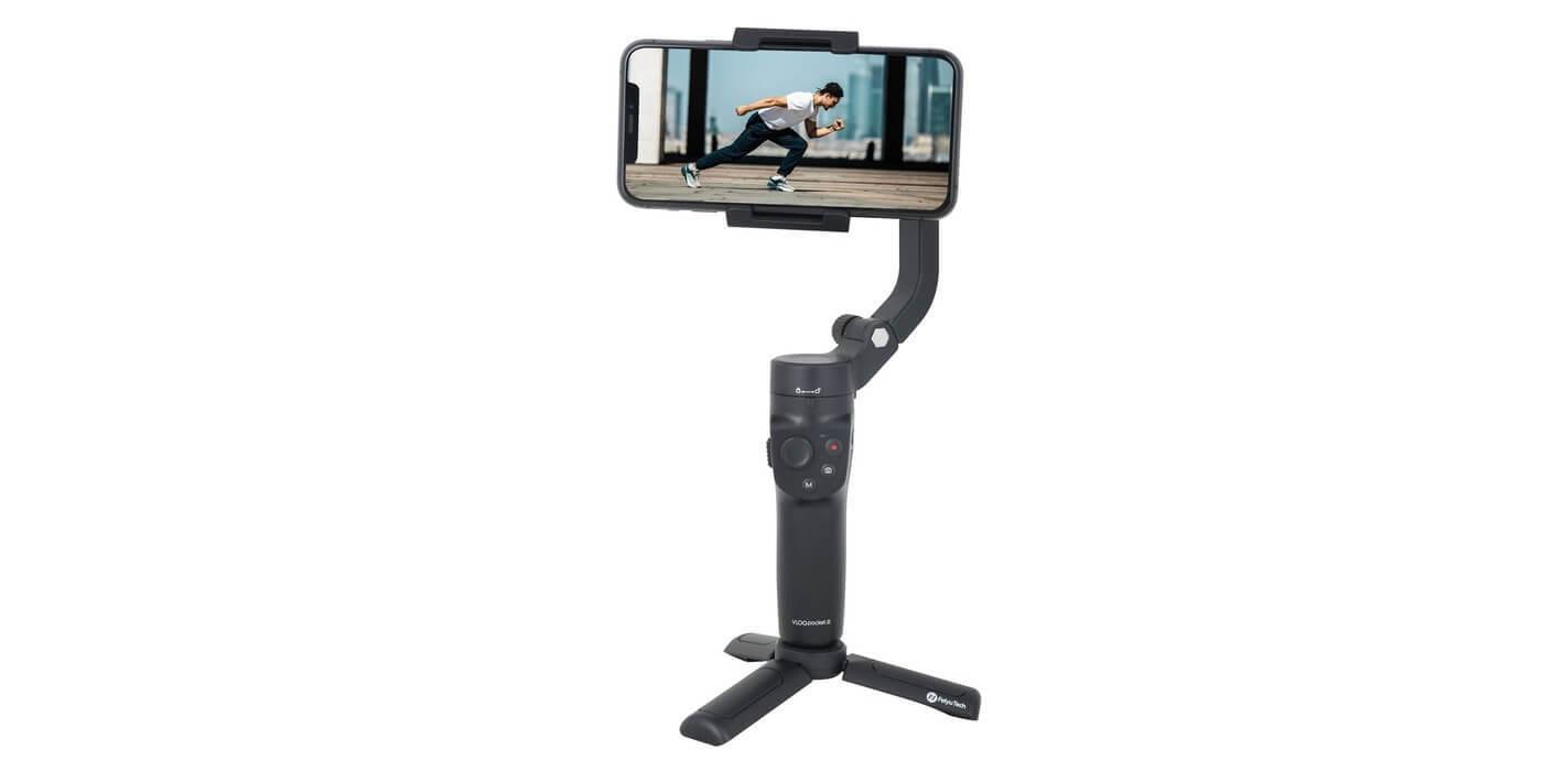 Стабилизатор Feiyu Vlog Pocket 2 смартфон + тренога вид спереди