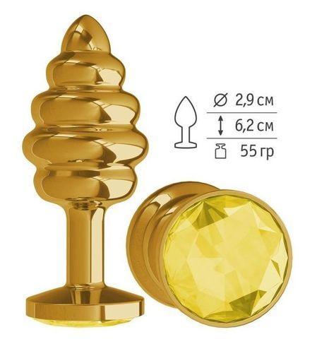Золотистая спиралевидная анальная пробка с желтым кристаллом - 7 см.