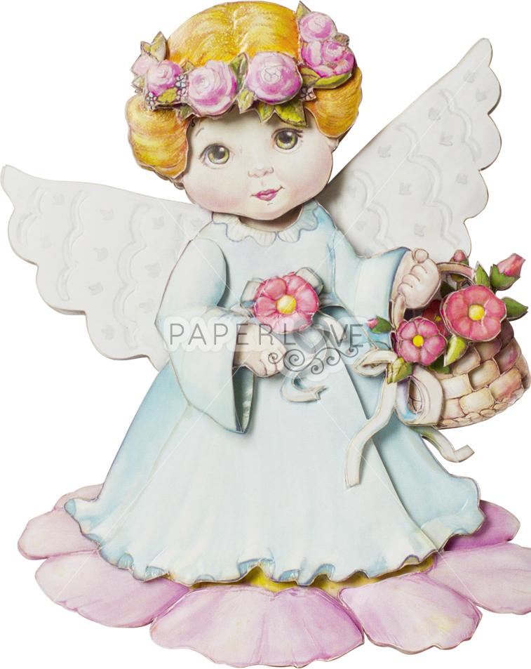 Папертоль Ангел с цветами — готовая работа, вид спереди.
