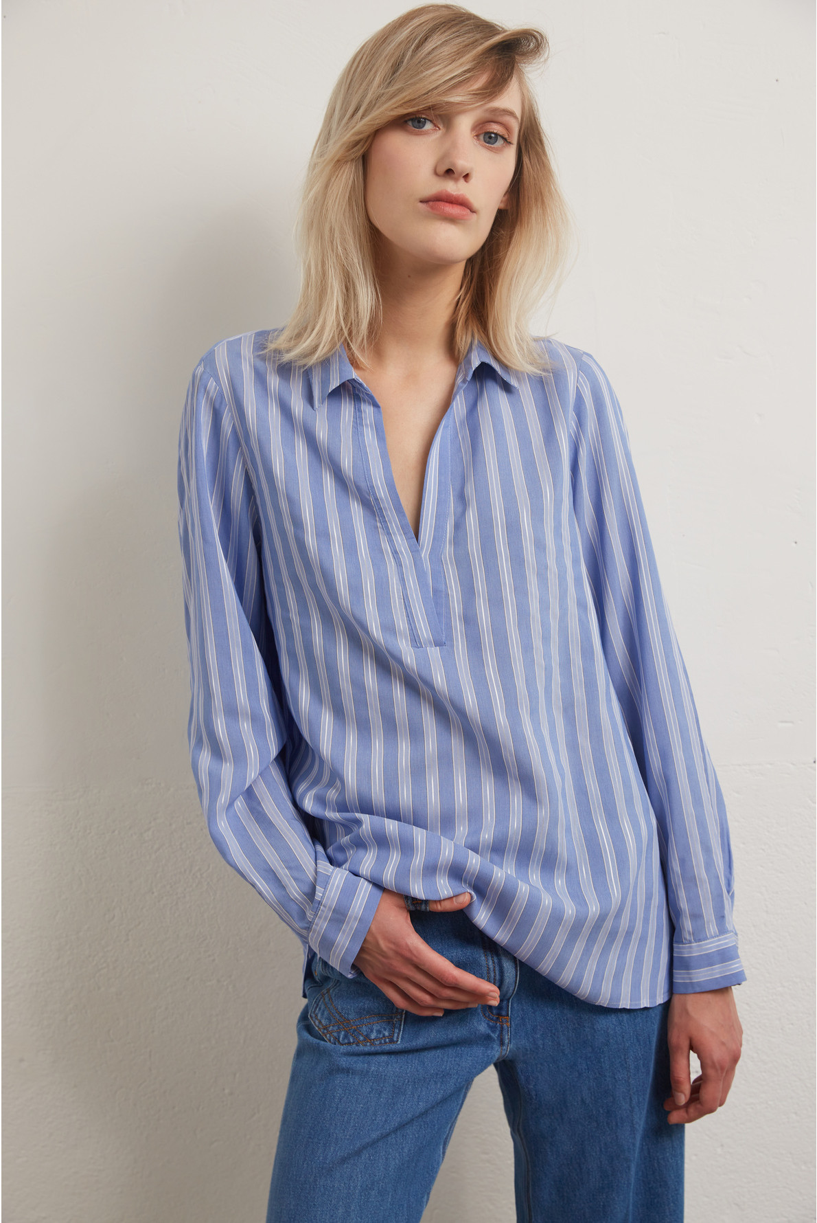 NATACHA - Рубашка из смесового шелка в полоску