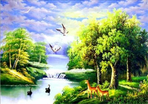 Алмазная Мозаика 30x40 Животный мир на воде