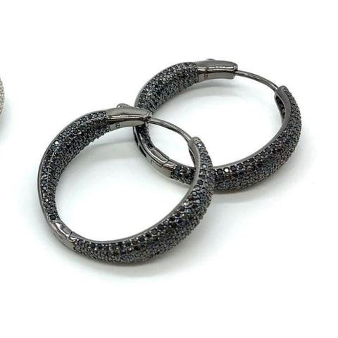 Серьги-кольца из серебра в черном родии с черными микроцирконами