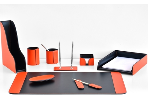 Настольный набор канцелярский 9 предметов из кожи цвет оранж/шоколад