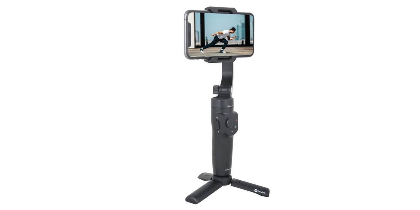Стабилизатор Feiyu Vlog Pocket 2 смартфон + тренога вид сбоку
