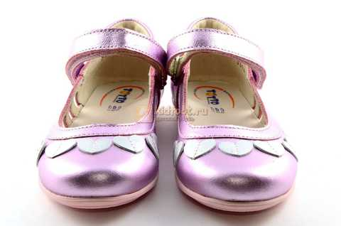 Туфли для девочек кожаные на липучке Тотто, цвет розовый металлик, 10210A. Изображение 5 из 12.