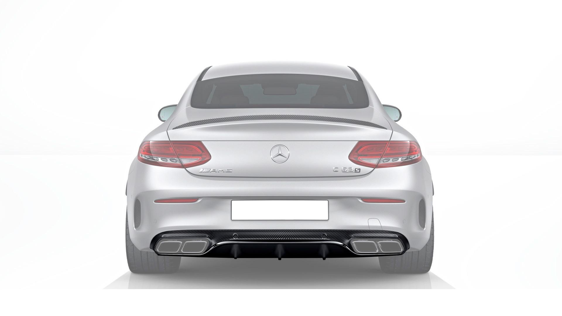 Карбоновый диффузор заднего бампера 63 AMG Style для Mercedes С-class сoupe С205