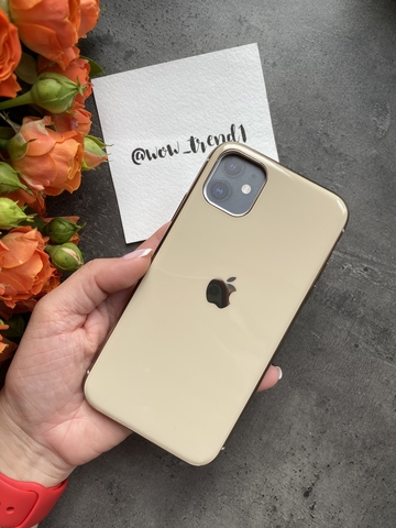 Чехол Iphone 11 Glass Silicone Case Logo /gold/