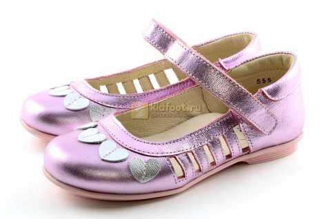 Туфли для девочек кожаные на липучке Тотто, цвет розовый металлик, 10210A. Изображение 6 из 12.