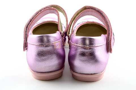 Туфли для девочек кожаные на липучке Тотто, цвет розовый металлик, 10210A. Изображение 7 из 12.
