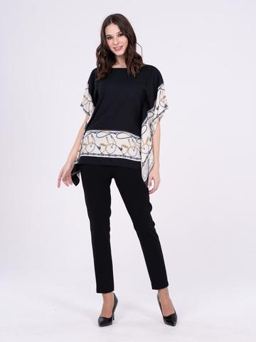 Фото черная блуза-пончо с белыми вставками на рукавах - Блуза Г642-373 (1)